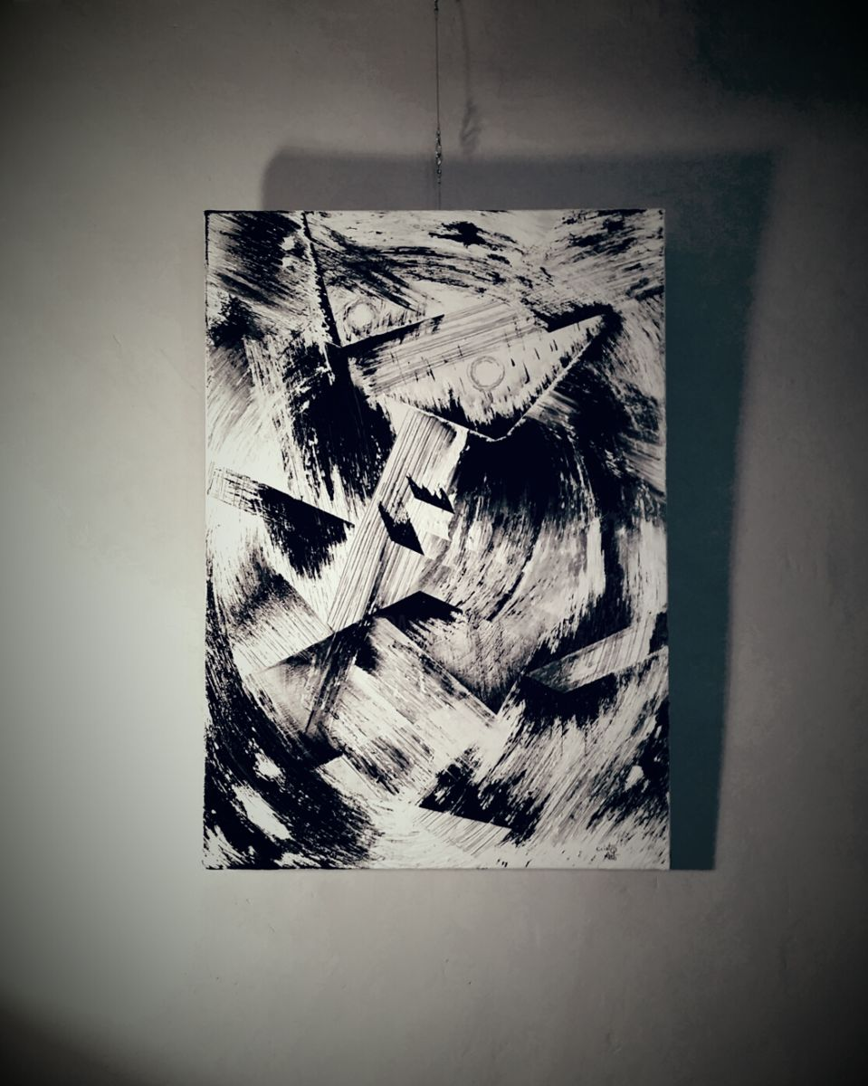 Trouble de nuit - Painting,  100x70 cm ©2015 by Cristo Ash -                                                                                                Abstract Art, Outsider Art, Canvas, Wood, Abstract Art, Black and White, peinture acrylique, artiste peintre 2017, artiste émergeant