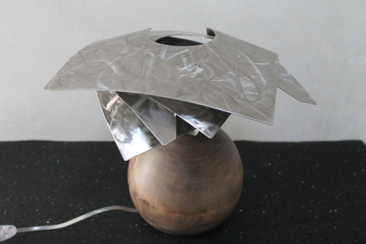 spiral lamp - Sculpture, ©2016 by Cristo Ash -                                                                                                                                                                                                      Wood, Stainless Steel, lampe design, creation