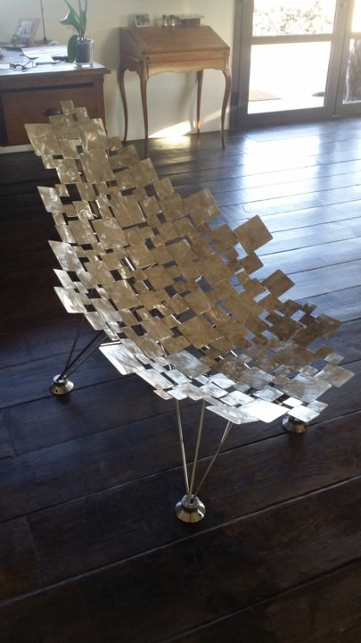 Blockseat - Sculpture,  21.7x27.6 in, ©2016 by Cristo Ash -                                                                                                                                                                                                                                                                                                                                                                                                                                                          Outsider Art, outsider-art-1044, Stainless Steel, Interiors, fauteuil design, fauteuil inox, armchair, furniture, designer furniture 2017
