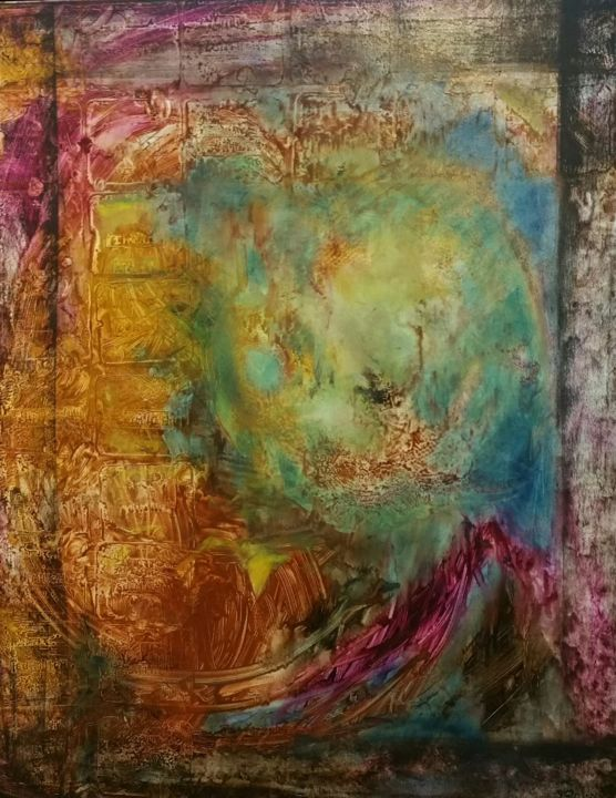 Vindaloo - Painting,  100x80x3 cm ©2019 by Catherine Rogers Jonsson -                                            Abstract Art, Abstract Art, emotional, intuitive, moving, expansive, spontaneous