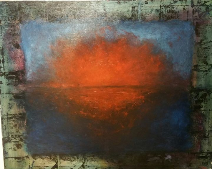 Sunset sea - Painting,  31.5x39.4x1.2 in ©2019 by Catherine Rogers Jonsson -                                            Symbolism, Spirituality, Spiritual seascape