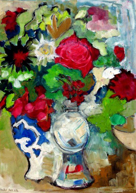 Studio Still Life - Painting,  49x32 cm ©2007 by Catherine Rogers Jonsson -                            Abstract Expressionism, still life, flowers