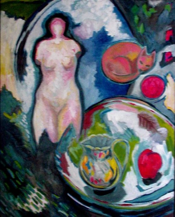 Invisible Woman II - Painting,  92x73 cm ©2005 by Catherine Rogers Jonsson -                            Abstract Expressionism, nude still life expressionism