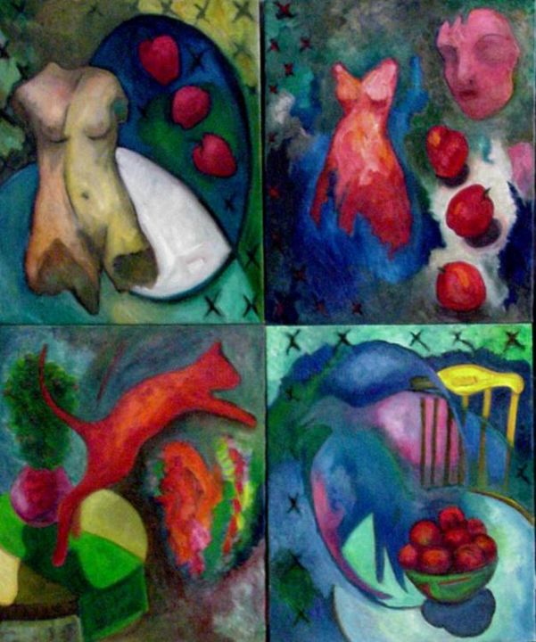 Invisible Worlds - Painting,  150x110 cm ©2005 by Catherine Rogers Jonsson -            nude  still life animals bird cat expressionism