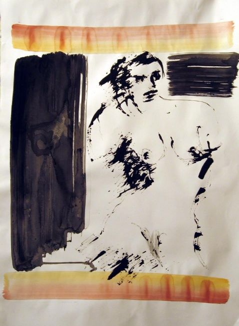 Figure: Rudenskold #8 - Painting,  27.6x19.7 in, ©2008 by Catherine Rogers Jonsson -                                                                                                                                                          Nude, figure, nude