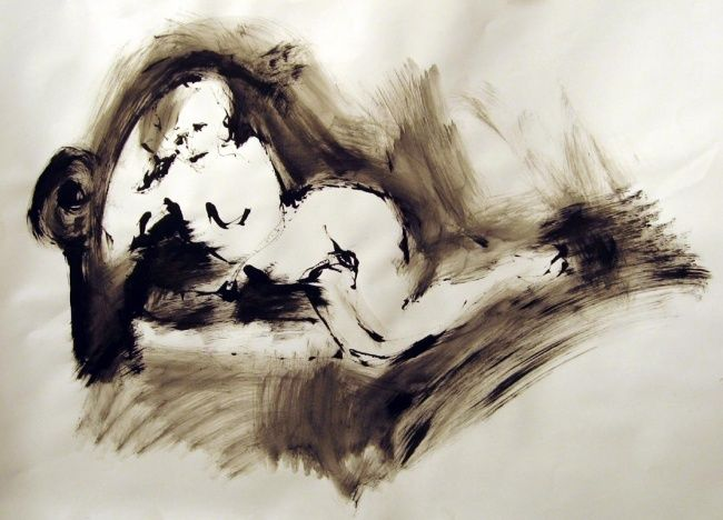 Figure: Rudenskold #13 - Painting,  19.7x27.6 in, ©2008 by Catherine Rogers Jonsson -                                                                                                                                                          Nude, nude, figure