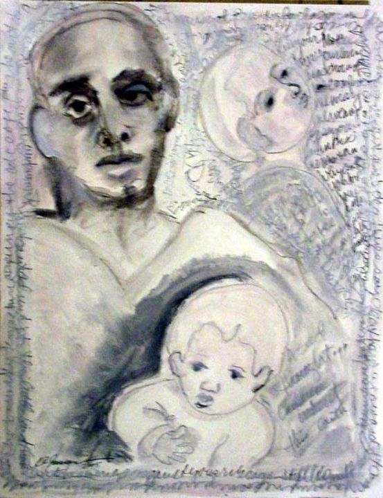 Mother of Two - Painting,  40x30 cm ©2005 by Catherine Rogers Jonsson -