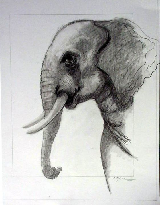 Elephant 2 - Painting,  60x50 cm ©2005 by Catherine Rogers Jonsson -