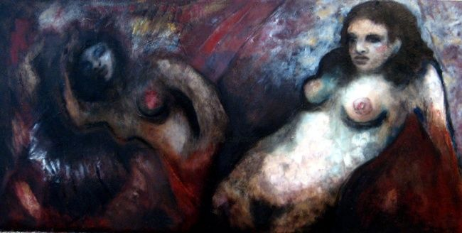 Meditation on the Shadow - Painting,  50x150 cm ©2008 by Catherine Rogers Jonsson -                        Abstract Expressionism