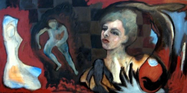 Escaping Thoughts - Painting,  50x150 cm ©2008 by Catherine Rogers Jonsson -                        Abstract Expressionism