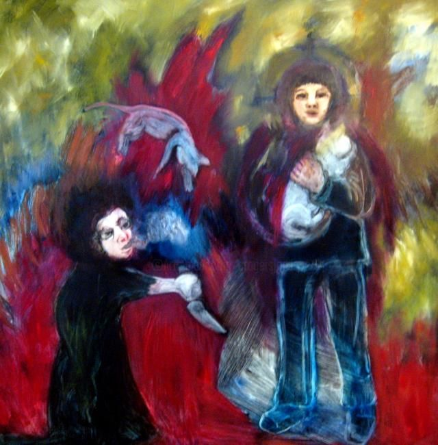 Mother and Daughter - Painting,  59.1x59.1 in, ©2008 by Catherine Jonsson -                                                                                                                          Abstract, abstract-570