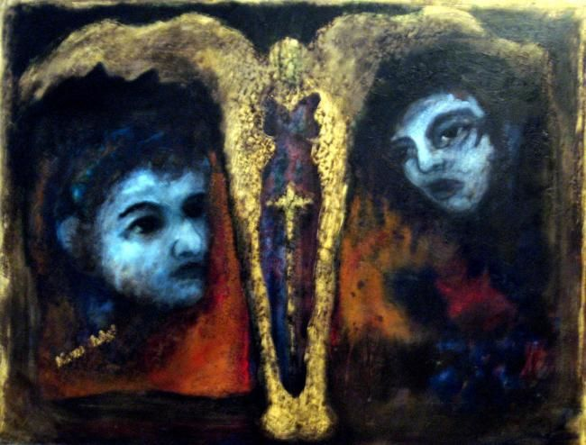 Archangel and Two Supplicants - Painting,  19.7x27.6 in, ©2008 by Catherine Rogers Jonsson -                                                                                                                          Abstract, abstract-570