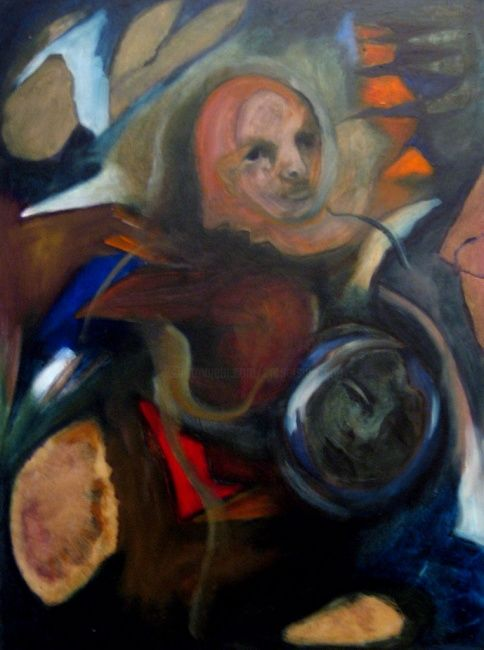 Immigrant - Painting,  70x50 cm ©2008 by Catherine Rogers Jonsson -                        Abstract Expressionism