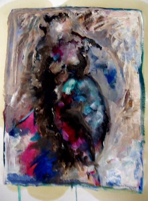 Running Nude - Painting,  40x30 cm ©2008 by Catherine Rogers Jonsson -                        Abstract Expressionism