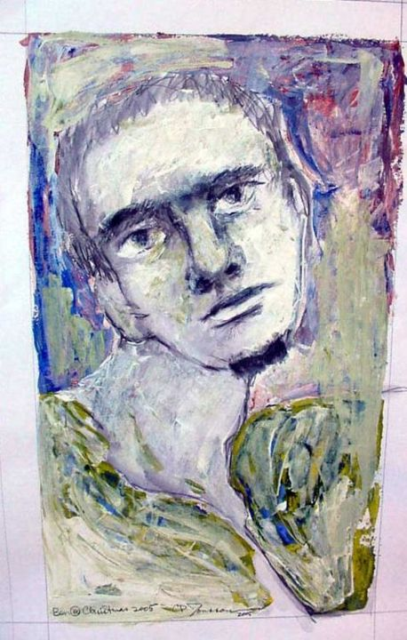 Ben at Christmas - Painting,  24x18 in ©2006 by Catherine Rogers Jonsson -            portrait