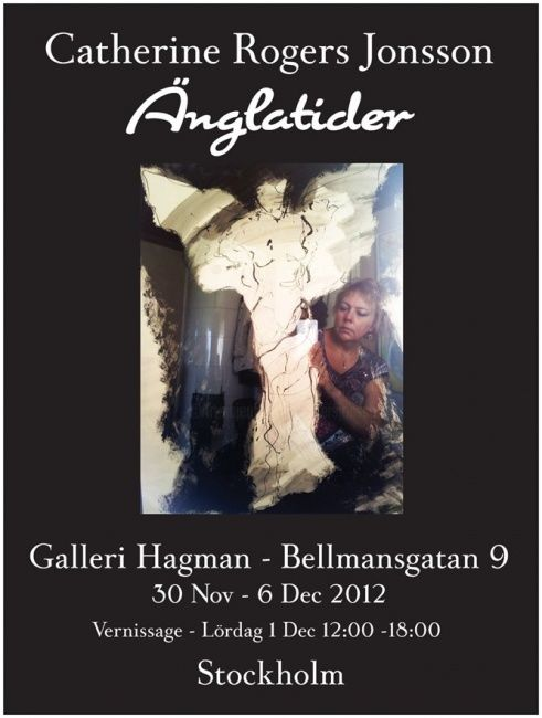 ÄNGLATIDER, Galleri Hagman Stockholm - Drawing,  24x18 in, ©2012 by Catherine Jonsson -                                                              Poster for the Stockholm show