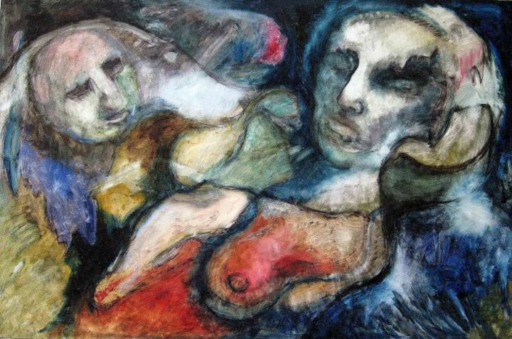 Ex-Man and Dreamer - Painting,  31.9x63.8 in, ©2006 by Catherine Rogers Jonsson -                                                                                                                                                      anti-war painting, figurative, nude