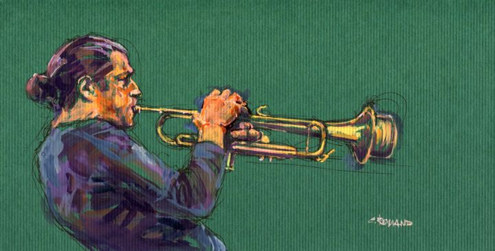 2004 jazz 9 - Painting, ©2018 by Christian Rolland -                                                                                                                                                                                                                                                                                          jazz, painting, ink, gouache, encre, plume