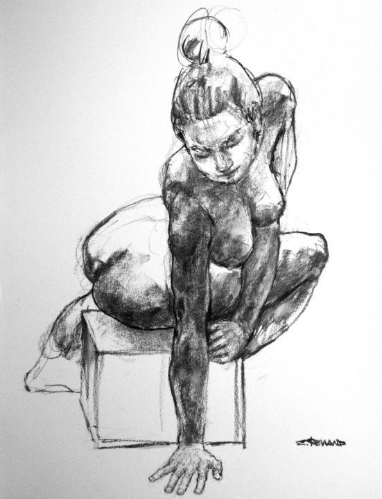 fusain 2018 32 - Drawing,  25.6x19.7 in, ©2018 by CHRISTIAN ROLLAND -                                                                                                                                                                                                                                                                                          drawing, charcoal, live model, dessin, fusain, modèle vivant