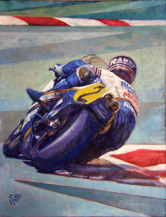 moto speed 3 - Painting,  25.6x19.7 in, ©2019 by CHRISTIAN ROLLAND -                                                                                                                                                                                                                                                                                                                                      peinture, huile, moto, course, motorsport, oil on canvas, speed