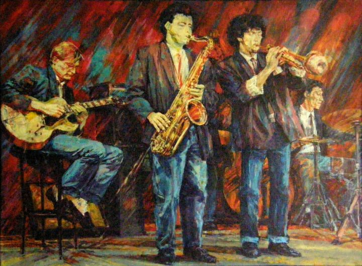 jazz painting 1 - ©  huile, toile, jazz, jazzband, painting, oil in canvas Online Artworks