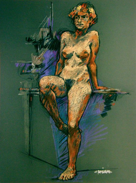 fusain pastel 1995 1 - Drawing,  31.5x23.6 in ©1995 by CHRISTIAN ROLLAND -            étude, dessin, pastel, craie, fusain, drawing, study, live model