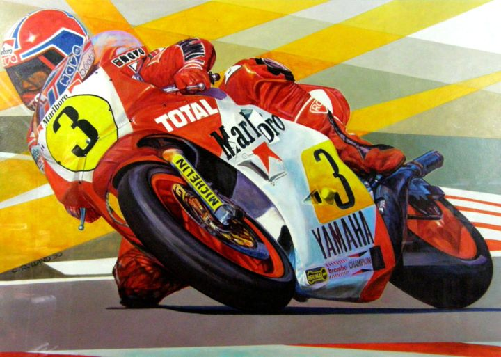 moto speed 8 - Painting,  17.9x25.6 in ©1990 by CHRISTIAN ROLLAND -            peinture acrylique, motocyclisme, vitesse, painting, acrylic, motor speed
