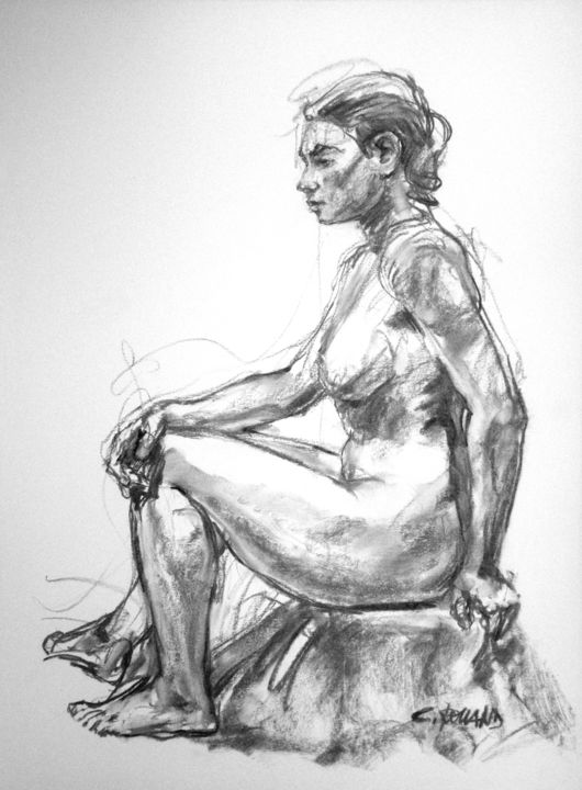 fusain 98 1 - Drawing,  29.5x21.7 in ©1998 by CHRISTIAN ROLLAND -            dessin, étude, fusain, nu, drawing, study, live model, charcoal
