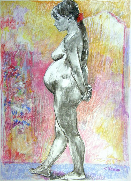 fusain pastel 2000 1 - Drawing,  29.5x21.7 in ©2000 by CHRISTIAN ROLLAND -            dessin, étude, fusain, pastel, drawing, live model, charcoal