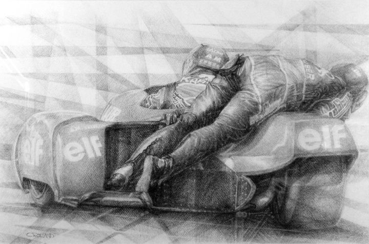 sidecar speed 90 - Drawing,  16.9x25.4 in, ©1990 by CHRISTIAN ROLLAND -                                                                                                                                                                                                                                                                                                                                                                                                                                                                          dessin, fusain, moto, side-car, vitesse, drawing, charcoal, motorcycle, speed, compétition