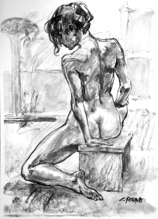fusain 1998 5 - Drawing,  29.5x21.7 in, ©1998 by CHRISTIAN ROLLAND -                                                                                                                                                                                                                                                                                          dessin, fusain, modèle vivant, drawing, live model, charcoal