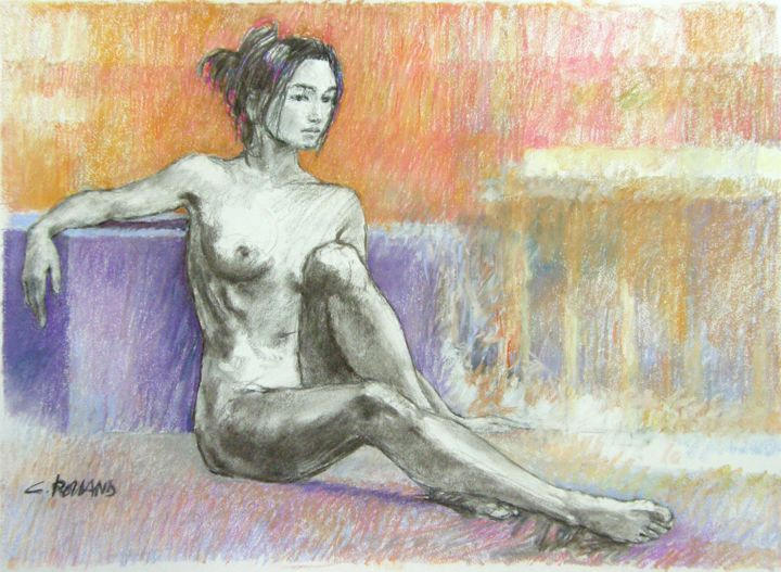 fusain et pastel 2001 1 - Drawing,  21.7x29.5 in, ©2001 by CHRISTIAN ROLLAND -                                                                                                                                                                                                                                                                                                                                      dessin, étude, fusain, pastel, drawing, live model, charcoal
