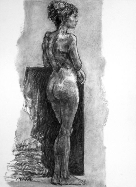 académie 2019 6 - Drawing,  29.5x21.7 in, ©2019 by CHRISTIAN ROLLAND -                                                                                                                                                                                                                                                                                                                                      dessin, fusain, académie, drawing, live model, charcoal, academy