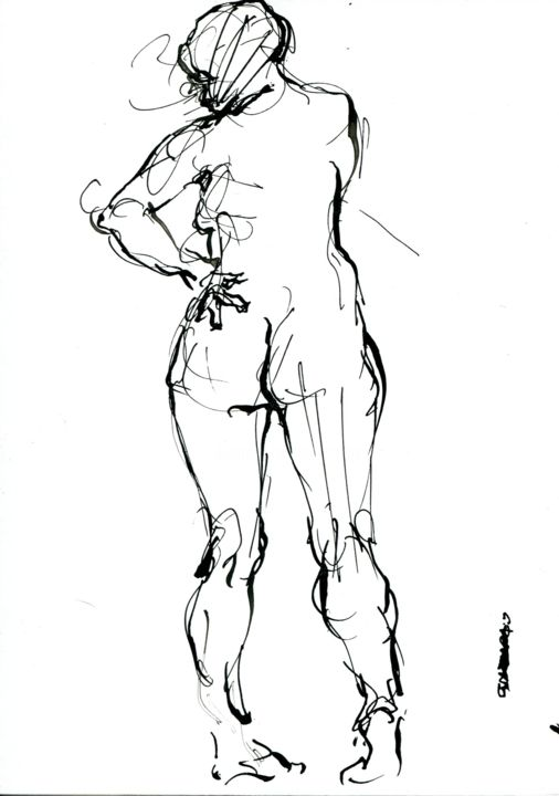 A5 2019 plu 3 - Drawing,  8.3x5.8 in, ©2019 by CHRISTIAN ROLLAND -                                                                                                                                                                                                                                                                                                                                                                                                                              dessin, croquis, encre, plume, sketch, drawing, live model, ink, nib