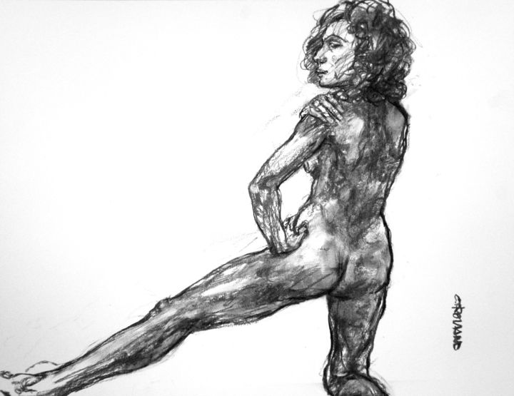 fusain 2019 31 - Drawing,  19.7x25.6 in, ©2019 by CHRISTIAN ROLLAND -                                                                                                                                                                                                                                              dessin, étude, fusain, drawing, live model