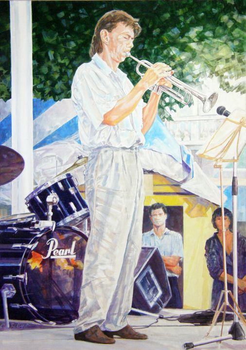jazz painting 20 - Pittura,  25,6x18,1 in, ©1991 da CHRISTIAN ROLLAND -                                                                                                                                                                                                                                                                                                                                                                                  peinture, huile, jazz, painting, musician, oil, trompeter, trompettiste