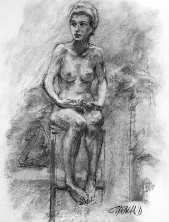fusain 1994 12 - Drawing,  25.6x19.7 in, ©1994 by CHRISTIAN ROLLAND -                                                                                                                                                                                                                                                                                                                                                                                                                              dessin, fusain, modèle vivant, nu, drawing, live model, charcoal, study, nude