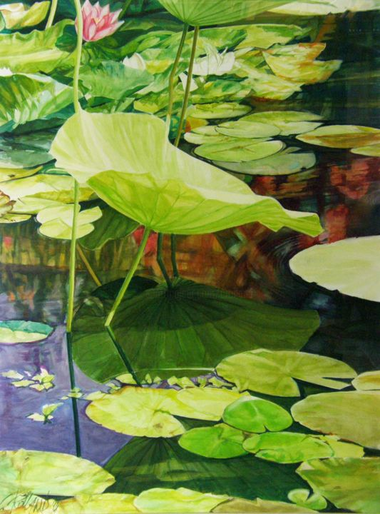 nymphéas 3 - Painting,  23.6x17.7 in, ©1994 by CHRISTIAN ROLLAND -                                                                                                                                                                                                                                                                                                                                      peinture, gouache, nénuphar, nature, painting, water lily, aquatic plant