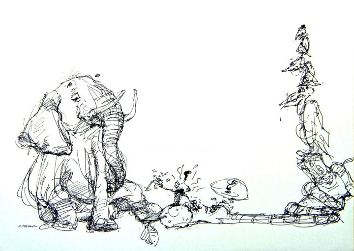 marula 3 - Drawing,  8.3x11.7 in, ©2009 by CHRISTIAN ROLLAND -                                                                                                                                                                                                                                                                                                                                                                                                                                                                          dessin, encre, stylo, tablette graphique, animaux, marula, drawing, humour, sketch, inkpoint