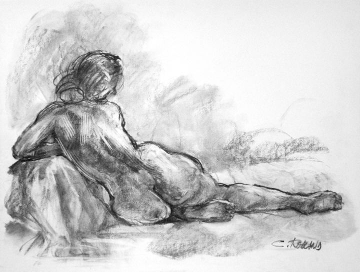fusain 1997 6 - Drawing,  19.7x25.6 in, ©1997 by CHRISTIAN ROLLAND -                                                                                                                                                                                                                                                                                                                                      dessin, modèle vivant, fusain, drawing, live model, charcoal, nude