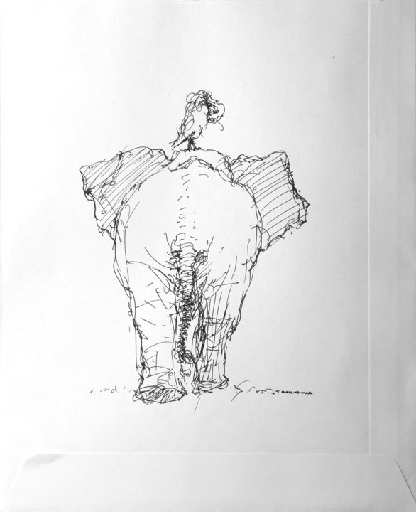 marula 4 - Drawing,  9.1x6.3 in, ©2009 by CHRISTIAN ROLLAND -                                                                                                                                                                                                                                                                                                                                                                                  dessin, stylo, encre pigmentée, marula, drawing, sketch, animal, inkpoint