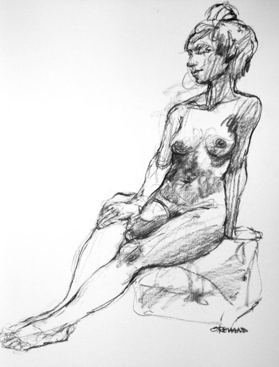 fusain 2020 2 - Drawing,  25.6x19.7 in, ©2020 by CHRISTIAN ROLLAND -                                                                                                                                                                                                                                                                                                                                                                                  dessin, modèle vivant, étude, fusain, drawing, live model, charcoal, study