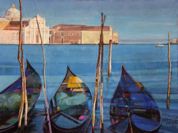 lagune 1 - Painting,  18.1x24 in, ©1990 by CHRISTIAN ROLLAND -                                                                                                                                                                                                                                                                                          peinture, huile/toile, lagune, Venise, painting, oil on canvas