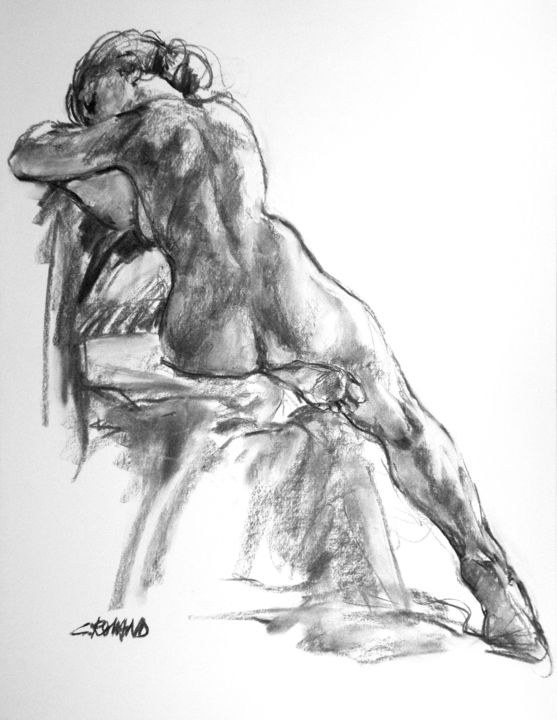 fusain 1992 5 - Drawing,  25.6x19.7 in, ©1992 by CHRISTIAN ROLLAND -                                                                                                                                                                                                                                                                                                                                                                                  dessin, modèle vivant, fusain, nu, drawing, live model, charcoal, study