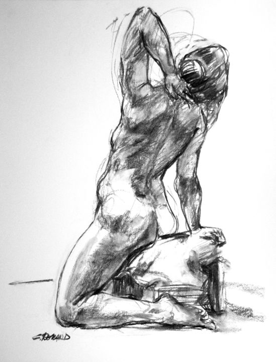 fusain 1992 6 - Drawing,  25.6x19.7 in, ©1992 by CHRISTIAN ROLLAND -                                                                                                                                                                                                                                                                                                                                                                                                                              dessin, modèle vivant, étude, fusain, drawing, live model, charcoal, study, nude