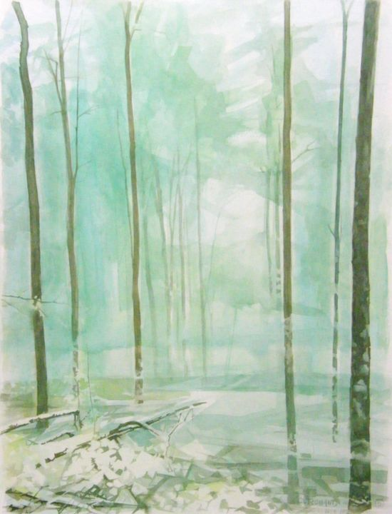 le bois 1 - Painting,  24x18.9 in, ©1992 by CHRISTIAN ROLLAND -                                                                                                                                                                                                                                                                                          peinture, gouache, bois, painting, wood, forest