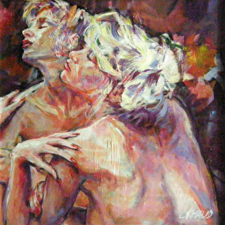 29,5 x 29,5 90 2 - Painting,  11.6x11.6 in, ©1990 by CHRISTIAN ROLLAND -                                                                                                                                                                                                                                                                                          peinture, huile sur panneau isorel, étude, painting, oil on  isorel, nude