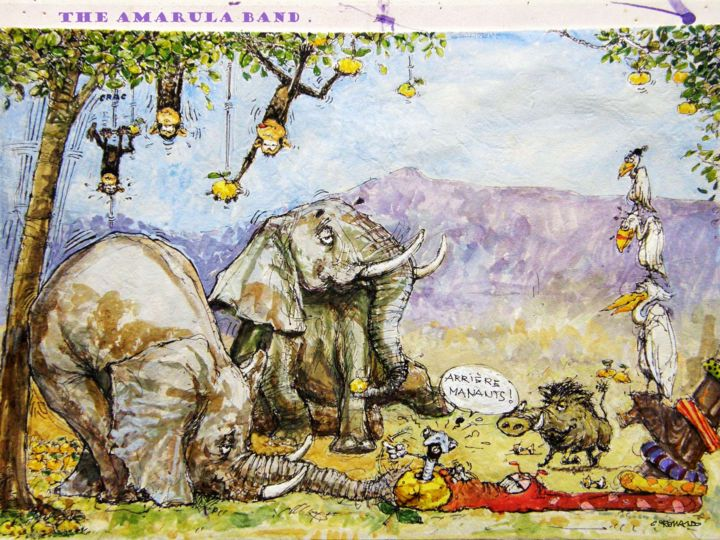 marula 7 - Painting,  8.5x12.5 in, ©2009 by CHRISTIAN ROLLAND -                                                                                                                                                                                                                                                                                                                                                                                  peinture, illustration, animaux, humour, marula, painting, sketch, animals