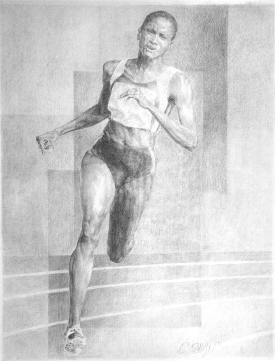 fusain athlétisme 1 - Drawing,  25.6x19.7 in, ©1996 by CHRISTIAN ROLLAND -                                                                                                                                                                                                                                                                                                                                      dessin, fusain, sport, athlète, demi-fond, drawing, charcoal