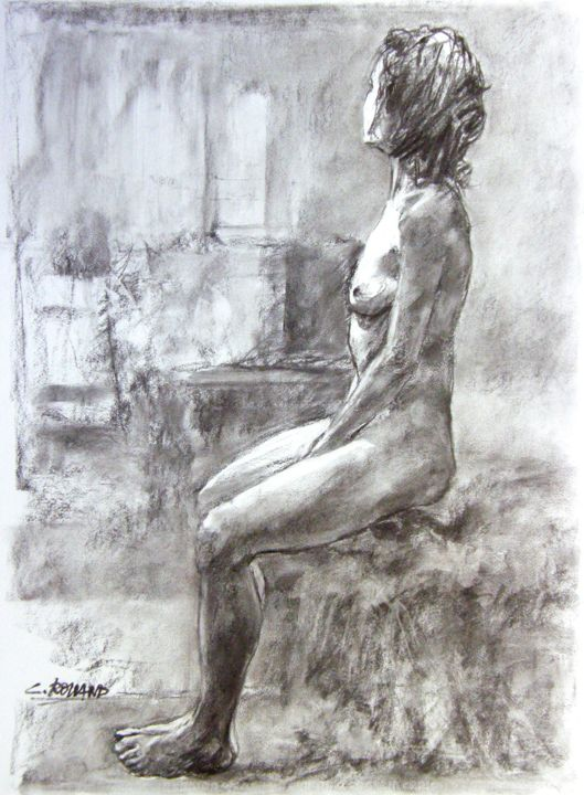 fusain 1999 5 - Drawing,  29.5x21.7 in, ©1999 by CHRISTIAN ROLLAND -                                                                                                                                                                                                                                                                                                                                                                                  dessin, fusain, académie, modèle vivant, drawing, live model, charcoal, academy